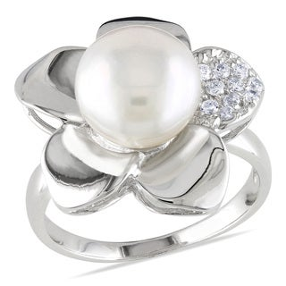 Miadora Sterling Silver White Pearl and White Topaz Ring (9-10 mm)
