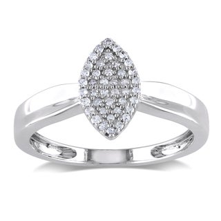 Haylee Jewels Sterling Silver Marquise Shape Diamond Ring
