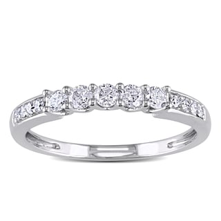 Miadora 14k White Gold 1/3ct TDW Diamond Wedding Band (G-H, I1-I2)