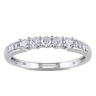 Miadora 14k White Gold 1/3ct TDW Diamond Wedding Band (G-H, I1-I2)