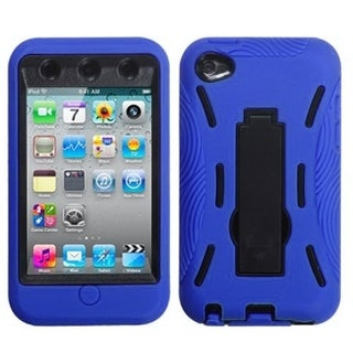 BasAcc Black/ Blue Case with Stand for Apple iPod Touch 4