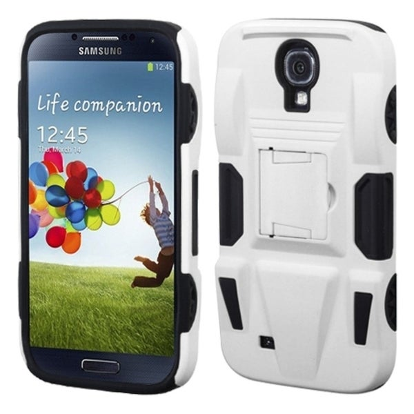 INSTEN White/ Black Phone Case Cover with Stand for Samsung Galaxy S4