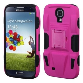INSTEN Hot Pink/ Black Phone Case Cover with Stand for Samsung Galaxy S4