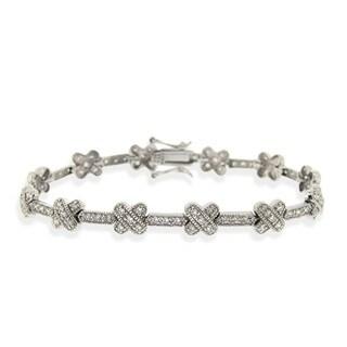 Icz Stonez Sterling Silver Cubic Zirconia 'X' Link Bracelet