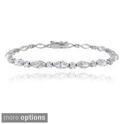 Icz Stonez Sterling Silver Marquise Pattern Link Bracelet