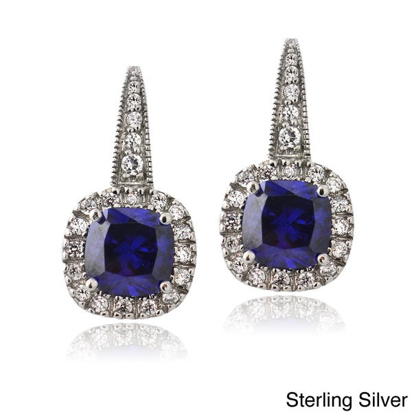 Icz Stonez Sterling Silver Blue Cubic Zirconia Square Drop Earrings