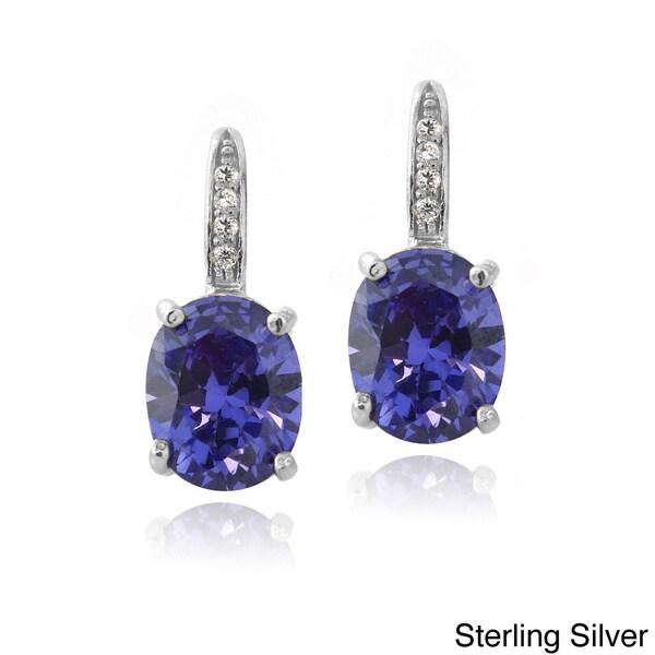 Icz Stonez Sterling Silver Blue Cubic Zirconia Oval Drop Earrings