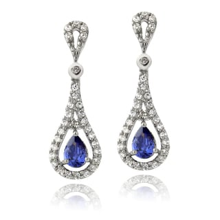 Icz Stonez Sterling Silver Blue Cubic Zirconia Teardrop Earrings