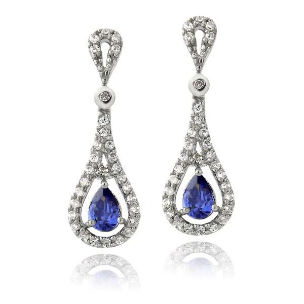 Icz Stonez Sterling Silver Blue Cubic Zirconia Teardrop Earrings