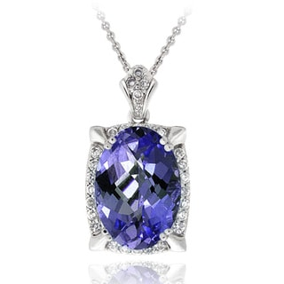 Icz Stonez Sterling Silver Blue Cubic Zirconia Oval Necklace