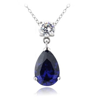Icz Stonez Sterling Silver Blue Cubic Zirconia Teardrop Necklace