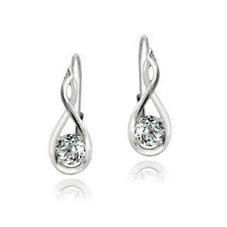 Glitzy Rocks Sterling Silver White Topaz Earrings