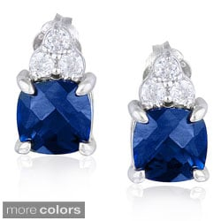 Icz Stonez Sterling Silver Cushion-cut Created Gemstone and Cubic Zirconia Earrings