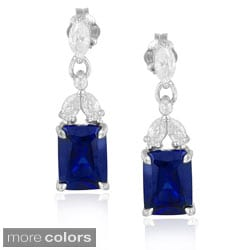 Icz Stonez Sterling Silver Created Gemstone and Emerald-cut Cubic Zirconia Dangling Earrings