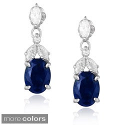 Icz Stonez Sterling Silver Created Gemstone and Cubic Zirconia Dangle Oval Earrings