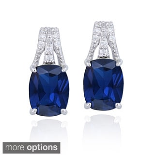 Icz Stonez Sterling Silver Cushion-cut Created Gemstone and CZ Earrings