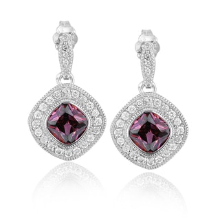 Icz Stonez Sterling Silver Cubic Zirconia Diamond-shaped Earrings