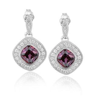 Icz Stonez Sterling Silver Cubic Zirconia Diamond-shaped Earrings