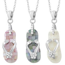 Fremada Rhodium-plated Sterling Silver Mother of Pearl Flip Flop Necklace