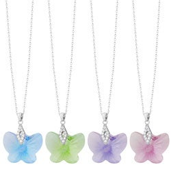 Fremada Rhodium-plated Sterling Silver Butterfly Necklace
