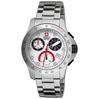 Wenger Men's Battalion Chrono White Dial Red Accent Watch