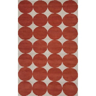 Hand-tufted White/ Poppy Wool Rug (8' x 10')