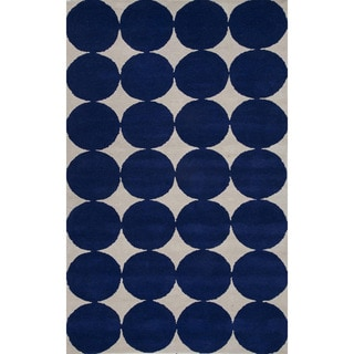 Hand-tufted White/ Royal Blue Wool Rug (8' x 10')