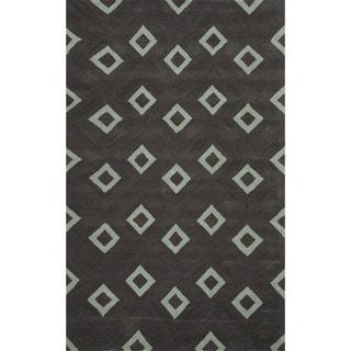 Hand-tufted Liquorice/ Slate Gray Wool Rug (8' x 10')