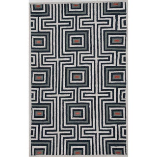 Hand-tufted Navy Wool/ Silk Rug (8' x 10')