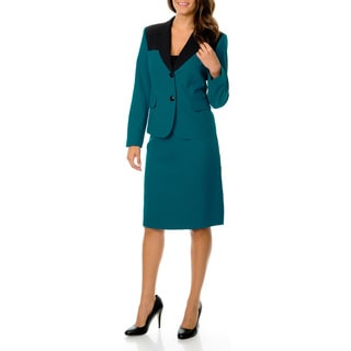 Danillo Women's Teal/ Black Washable 2-button Skirt Suit
