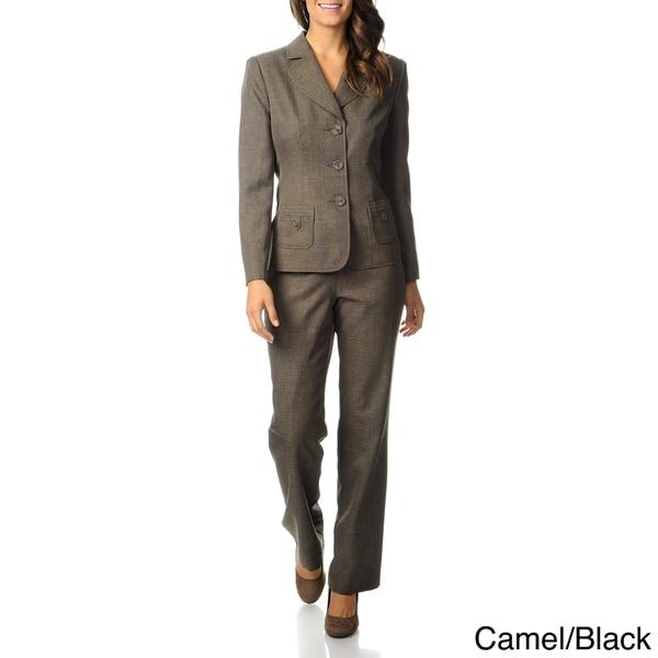 Danillo Women's Camel/ Black 3-button Pant Suit