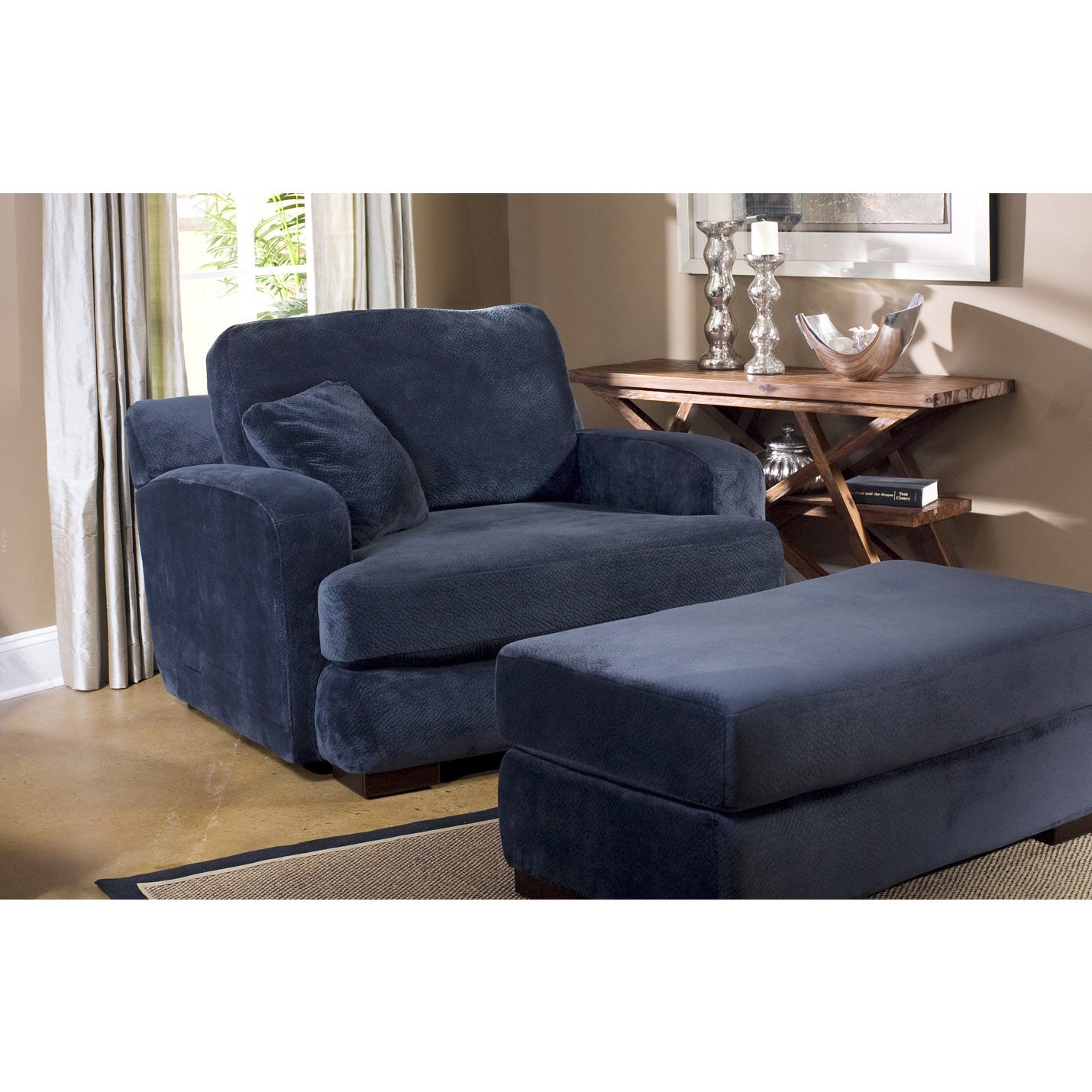 Navy blue chair and ottoman club chair and ottoman navy for Navy blue chair and ottoman