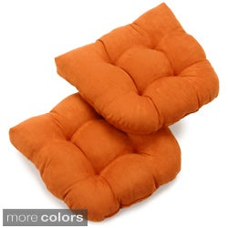 Blazing Needles 19x19-inch U-shaped Tufted Microsuede Chair Cushions (Set of 2)