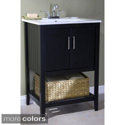Ceramic-top 24-inch Single Sink Bathroom Vanity and Basket