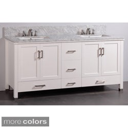 Mable-top 72-inch Double Sink Bathroom Vanity and Dual Matching Mirrors