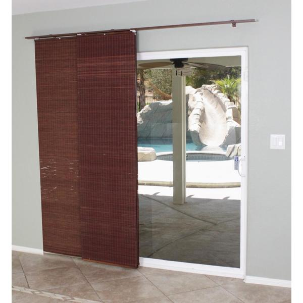 Mahogany flat privacy panel track sliding shade 15622605 for Panel tracks for patio doors