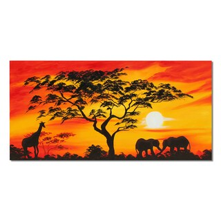 Hand Painted 'African Life' Canvas Oil Painting