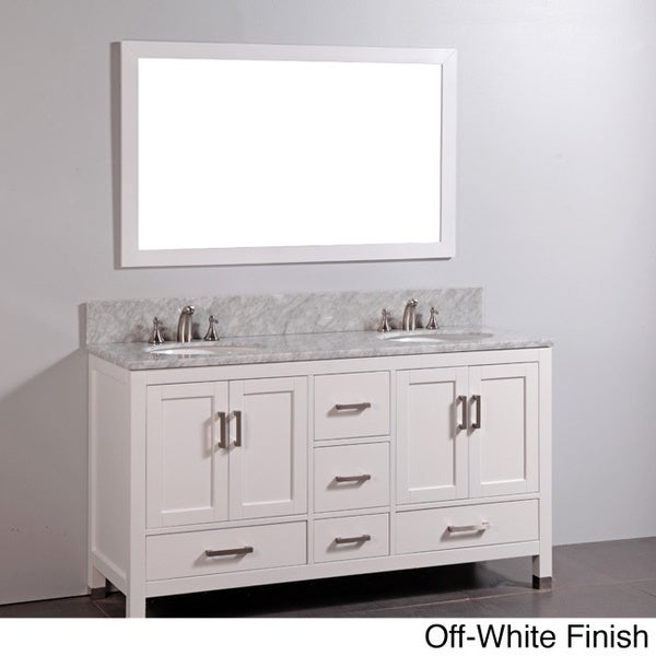 Marble-top Double Sink Bathroom Vanity and Mirror Set
