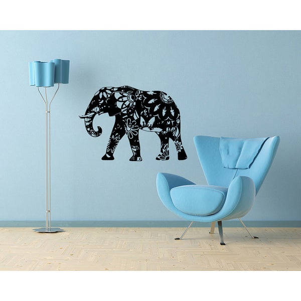 Cute design floral elephant wall mural vinyl sticker for Elephant wall mural