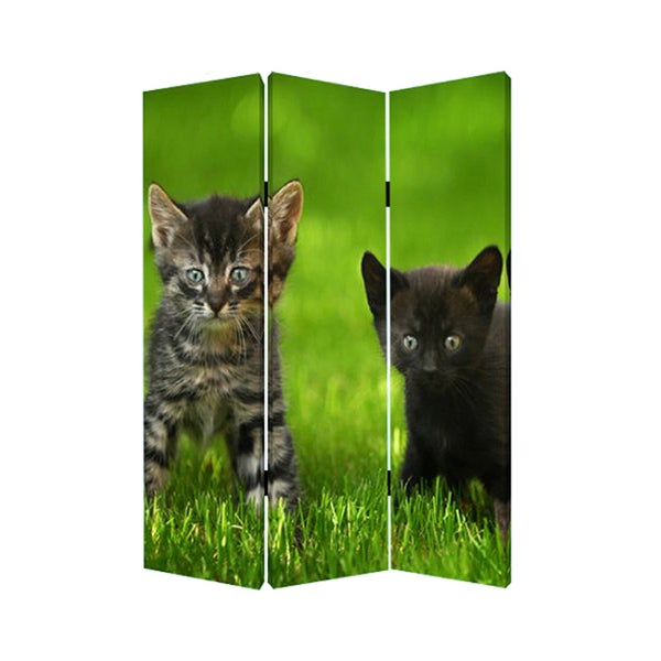 Curious Cat 3-panel Canvas Screen