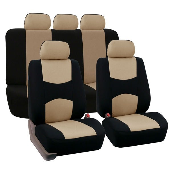 FH Group Beige Airbag Compatible Car Seat Covers Full Set