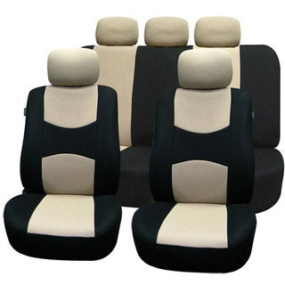 FH Group Beige Airbag Compatible Car Seat Covers (Full Set)