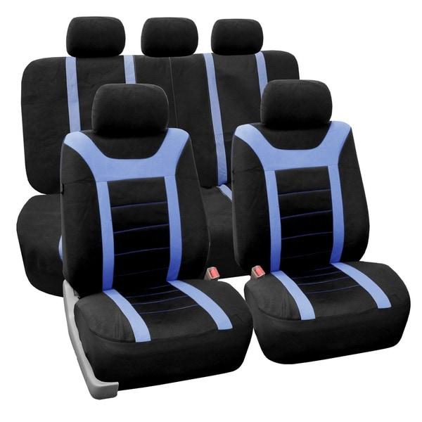 FH Group Blue Airbag Compatible Sports Car Seat Covers (Full Set)