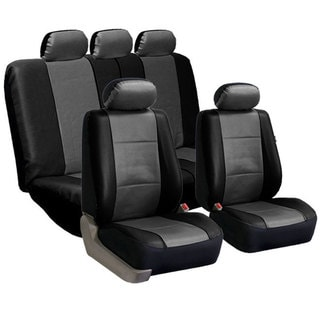 FH Group PU Leather Gray/Black Airbag Compatible Seat Covers