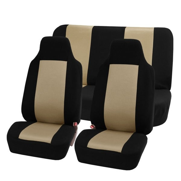 FH Group Beige Full Set Fabric Auto Seat Covers