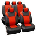 FH Group PU Leather Red Airbag Compatible Racing Seat Covers (Full Set)