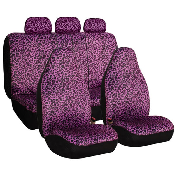 FH Group Purple Leopard Print Full Set Car Seat Covers