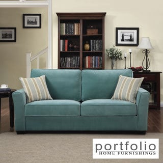 Portfolio Tara Turquoise Blue Velvet Sofa with Summer Blue Stripe Accent Pillows
