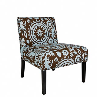 Portfolio Niles Brown and Blue Floral Medallion Armless Accent Chair