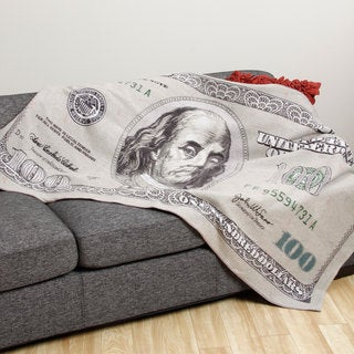 One Hundred Dollar Bill Flannel Throw